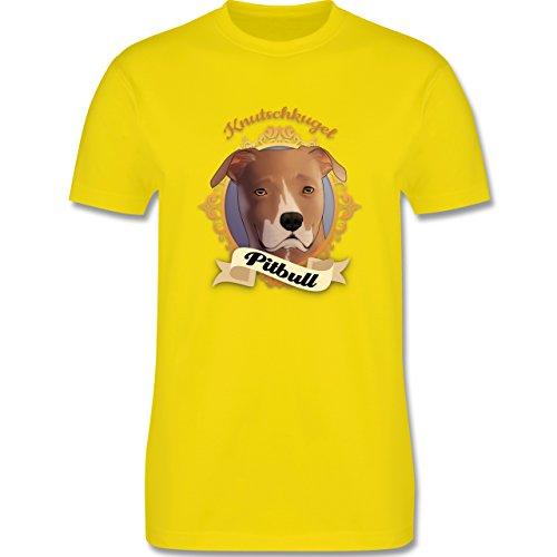 Hunde - Pitbull - Knutschkugel - Herren Premium T-Shirt Lemon Gelb