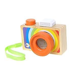 Junlinto Mini macchina fotografica in legno Caleidoscopio Giocattoli Bambini Camera dei bambini Hanging Decoration Toy-A