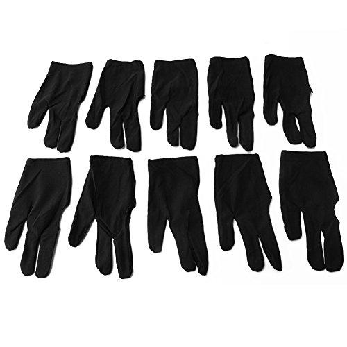Merssavo 10pcs 3 Finger elastische Nylon Billard Pool Snooker Cue schützen Handschuhe