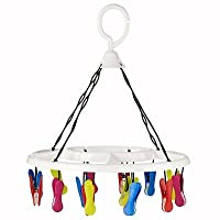 Lakeland Small & Socks Hanging Dryer Airer with 16 Soft Grip Pegs