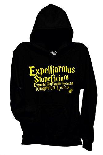 MUSH Sweatshirt Kapuzen Expelliarmus Harry Potter - Film by Dress Your Style - Damen-S Schwarz