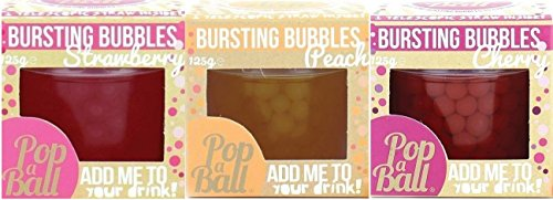 PopaBall 3 Flavour Pack of Bursting Bubbles for Prosecco - Summer Fruits - Cherry. Peach and Strawberry