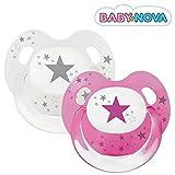 Baby Nova Dental Babysauger Beruhigungssauger Slimline Schnuller Sterne (Gr 1: von 0 bis 6 Monate, 2 Stk rosa und transparent mit grau)