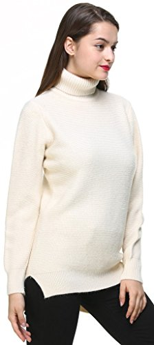 Vogueearth Classic Fashion Femme's Longue Manche Turtleneck Knit Hiver Sweater Chandail Tricots Pullover Gris