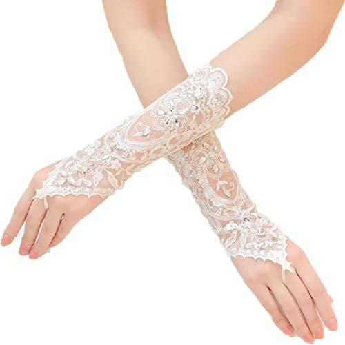 ShineGown Damen Lange Häkelspitze Perlen Fingerlose Braut Hochzeit Handschuhe Weiß ()