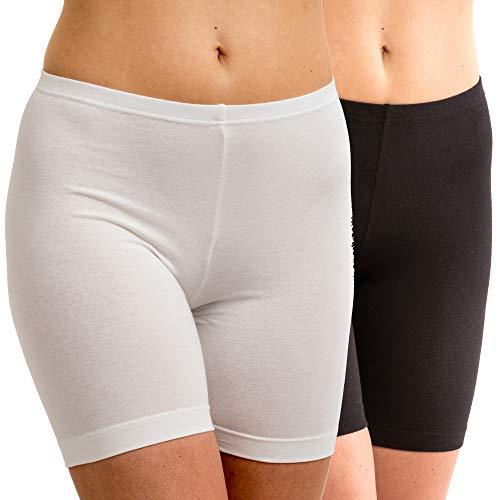 HERMKO 5780 2er Pack Damen Longpant - knielanger Pant, Größe:52/54 (XXL), Farbe:weiß/schwarz
