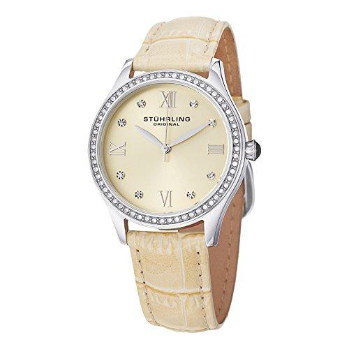 Stuhrling Original Vogue - Reloj de Cuarzo, para Mujer, con Correa de Cuero, Color Crema