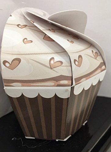 Stock 20 pezzi dolcetto cupcake tortora con cuori scatola scatolina in cartone portaconfetti bomboniera nascita compleanno comunione cresima matrimonio