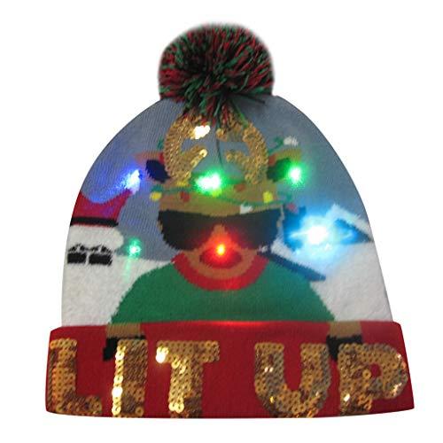PLOT Damen Strickmütze Weihnachten Mütze Skimütze Wintermütze Bunter LED Beanie Mützen Leuchten Knit Hut Kappen Geschenke Baskenmütze