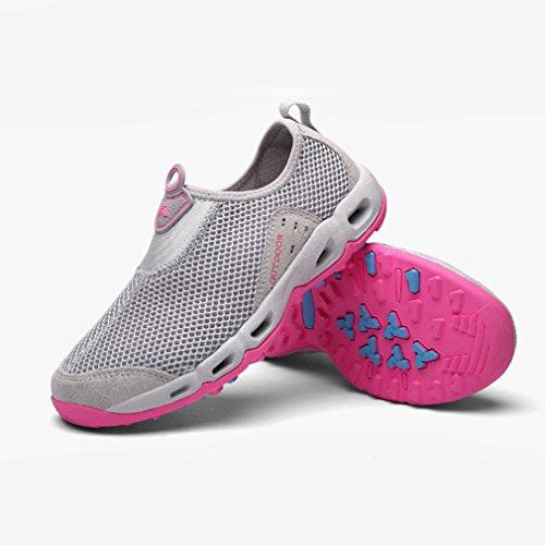 Adulte mixte mocassin loafers pour amoureux chaussure de sport running course jogging basket mode sneakers maille respirant légère gris clair