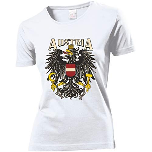 Trendagentur KEPPLINGER Damen T-Shirt - Österreich - Aufdruck: Austria mit Staatswappen/Adler (Weiß, S)
