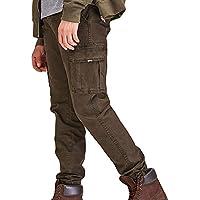 Moda Color Sólido Pantalones Lavados Pantalones Largos Algodón Slim Fit Cargo Sueltos Casuales con Costura Múltiples Bolsillos Laborales MMUJERY