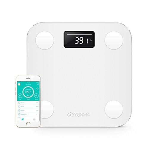 Yunmai - Bilancia intelligente per l'analisi della composizione corporea, con 10 diverse tipologie di composizione corporea (inclusa massa grassa), con Bluetooth, White