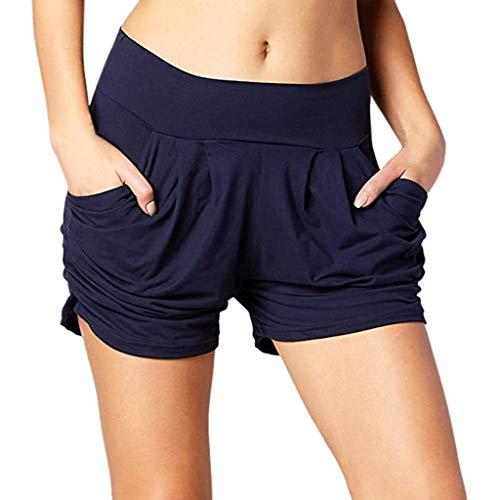 Zarupeng Damen Einfarbig Shorts Hohe Taille Faltete Freizeitshorts Sommer Weiche Atmungsaktiv Stoff-Shorts Lose Strand Kurzen Hosen
