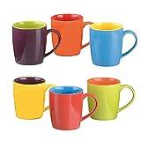 Colourful Cups & Mugs 403045G+876 Set da 6 Tazze per Latte, Colori Assortiti