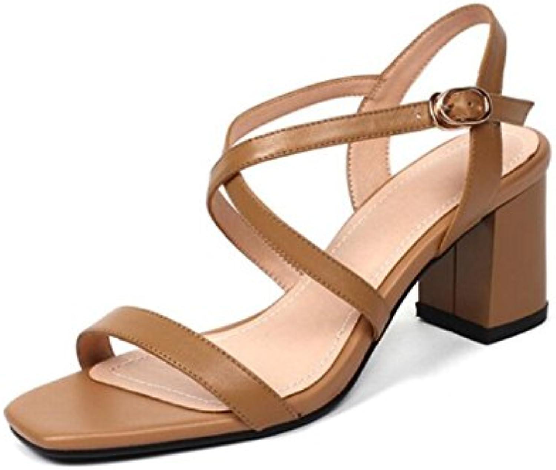 Zapatos de Mujer PU Confort de Verano Sandalias de Novedad Sandalias de Hebilla con Tacón Abierto Sandalias de...