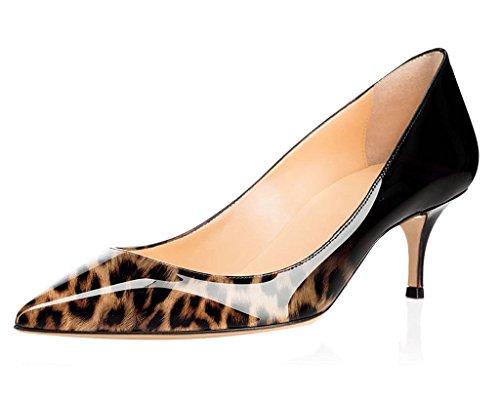 EDEFS Escarpins Femme Sexy 6.5CM Kitten Heel Chaussures Bout Pointu Fermé 10-Leopard