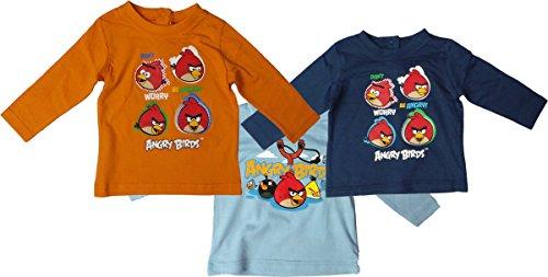 Angry Birds Baby Langarmshirt - 3er Set - Dont worry be angry - Dunkelblau/Hellblau/Orange/Mehrfarbig (Mädchen Stella Langarmshirts)
