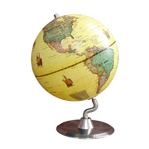 23cm HD Retro Globe Metal Base Reines Volles Englisch Englisch Version Globe Student Home Office Map Instrument (Color : Yellow)