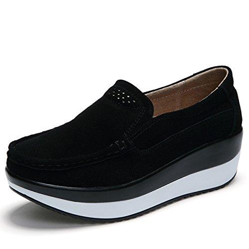 Gracosy Mocasines de Mujer Cuña de Cuero Plataforma Informal Zapatos de Gamuza Casuales Zapatos Cómodo...