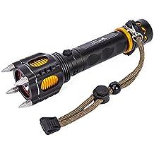 Asvert Linterna Táctica de Militar y Policía con Cinco Modos y Atacadores de Luz Zoom Resistente al Agua, Negro