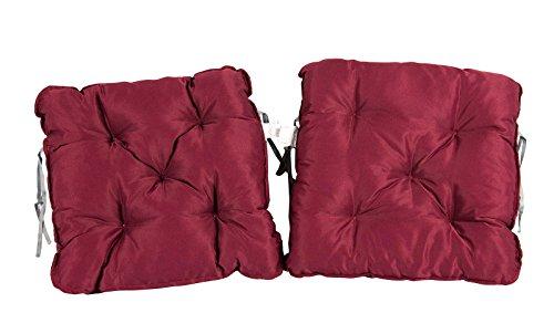 Meerweh Sitzkissen, 2er Set Auflage für Sessel Nordisches Design Sitzpolster, rot, 50.0x50.0x10.0...