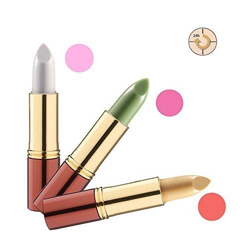 IKOS Lippenstift 3er Set: der denkende Lippenstift weiß/perlmuttrosa + grün/nachtrosa +...