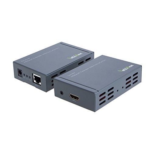 vellbox HDMI HDBaseT Extender 100m von CAT5e/6x 1Unterstützung Auflösung bis zu 1080p, 5V/2A Universal Power Adapter, Grau Cat5e/6 Extender