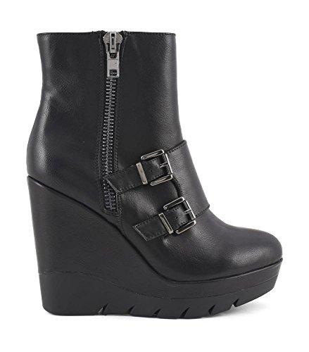 CAF NOIR GC927 chaussures noires femme prise botte zip en coin