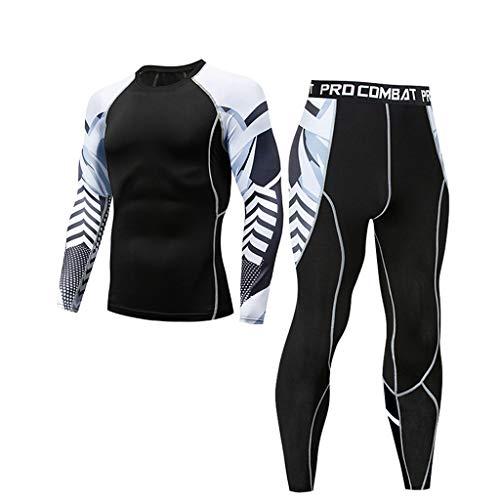 SOLELING Uomo Sportivo Abbigliamento Manica Lunga Tight T-Shirt Fitness Jogging Pantaloni Compressione