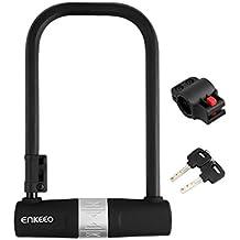 Enkeeo - Candado U retorcible cerradura antirobo con capa de corrosión resistente para bicicletas, motocicletas (U lock montura, 2 reversibles llaves, arco con alta resistencia) Negro