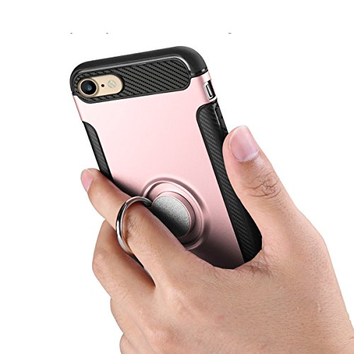 "iPhone 7 Hülle, HICASER Abnehmbare Hybrid Dual Layer Defender Case [Shock Proof] Carbon Faser TPU +PC Handyhülle mit Klappständer für iPhone 7 4.7"" Rose Gold Rose Gold"