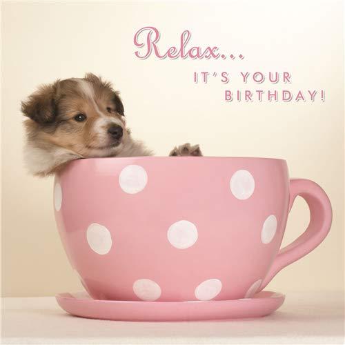 Hunde Karte - Pup in a Cup - Geburtstagskarte Hund Cup