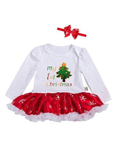 URBEAR Bambine e Ragazze Mio Primo Natale Costume del Partito del Vestito 2 pz Bianco/Albero di Natale 18-36 Mese