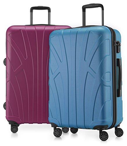 Suitline - 2er Koffer-Set Trolley-Set Rollkoffer Hartschalen-Koffer Reisekoffer, TSA, 66 cm, 100% ABS, Matt, Cyanblau / Magenta
