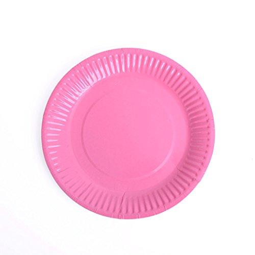 Meowoo Pappteller Partyteller Einwegteller ideal für Feste und Feiern wie Geburtstag oder Grillabend, aus Frischfaserkarton 18cm (100 Pack) (Rosa)