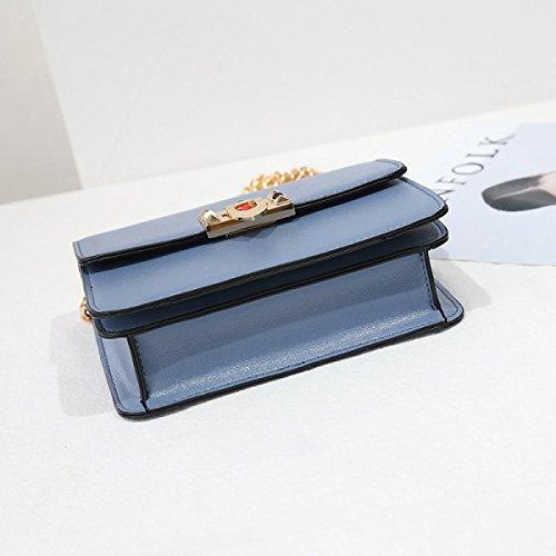 Frauen Schultertasche Mädchen Messenger Bag Kleine Quadratische Tasche Wild Kette Mode Freizeit Persönlichkeit Querschnitt Platz Blue
