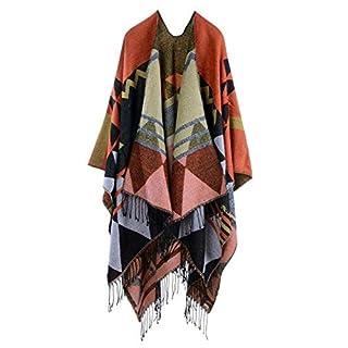 Anself Women Bohemia Long Cape Geometric Pattern Oversized Knitted Shawl Poncho
