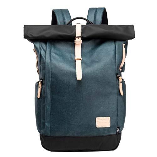 Neuleben Kurierrucksack 15,6 Zoll Laptop Rucksack Rolltop Wasserfest Schulrucksack Daypack mit USB Ladeanschluss Anti Diebstahl für Damen Herren (Blau)