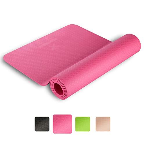 BODYMATE Yogamatte Premium TPE Größe 183x61cm – Dicke 6mm – Schadstoffgeprüft durch SGS frei von Phthalaten, BPA, Schwermetallen – Trainings-Matte für Fitness, Yoga, Pilates, Functional
