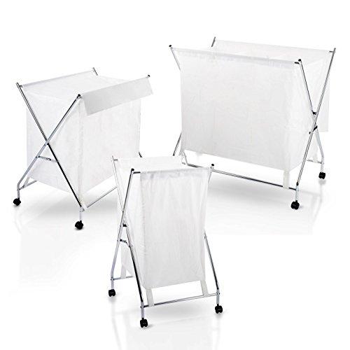 casa pura® Wäschewagen Robin | Wäschekorb auf Rollen | zusammenklappbar | mit waschbarem Wäschesack und Abdeckung | verschiedene Größen (1 Fach, 75 Liter)