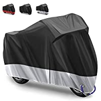 Motorcycle Cover Motorbike Cover Bicycle Cover 2 lock-holes,210D Oxford Fabric outdoor motorcycle cover protection against rain, snow, sun or dust Protective Cover +Carry Bag/ 245x105x125 cm- (Silver)