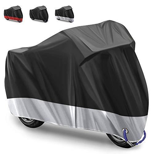 Funda para Moto Cubierta de la Moto Funda Protector para Moto Impermeable Funda para Moto 210D Tela Oxford Cubierta Protector Impermeable al Aire Libre contra Lluvia,Sol- 245X105X125cm (Plata)