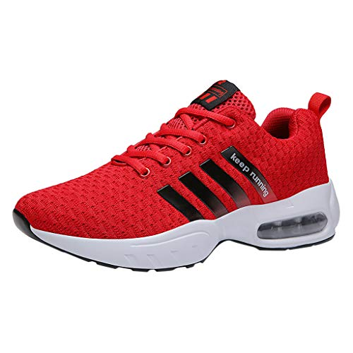 Sportschuhe Herren Fashion Sneaker Atmungsaktive Luftkissensneaker rutschfeste Turnschuhe Korean Trend Wanderschuhe Casual Mesh Freizeitschuhe Einfach Laufschuhe, Rot, 41 EU