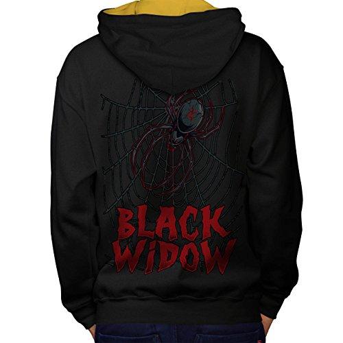 Schwarz Witwe Spinne Angst Das Netz Men M Kontrast Kapuzenpullover Zurück | (Beerdigung Witwe Schwarze Kostüm)