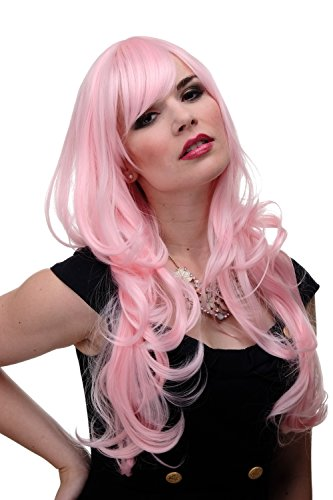 WIG ME UP - Damen Perücke große kräftige Locken, welligem Haar mit glattem Pony Rot Rosa Hellrosa ca. 65 cm 285-T2333