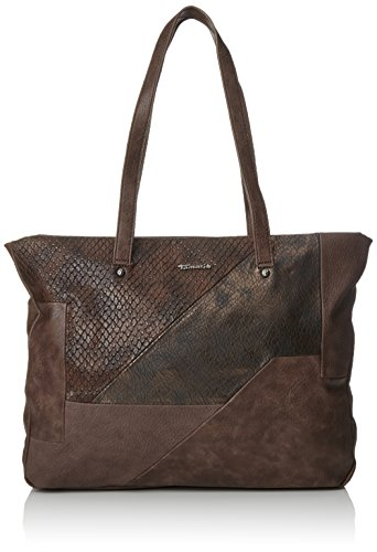 Tamaris - Bimba Shopping Bag, Borse a secchiello Donna Marrone (Dark Brown Comb)