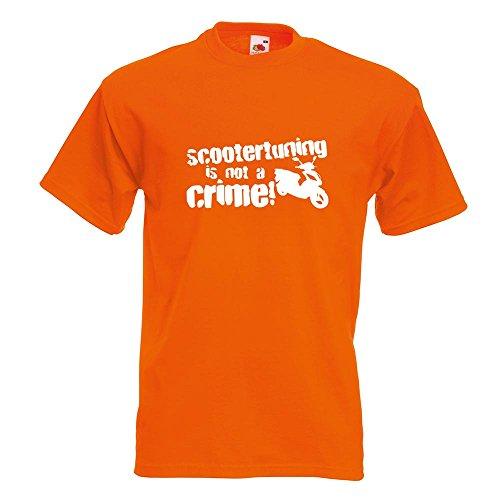 KIWISTAR - Scootertuning is not a Crime! Design 1 T-Shirt in 15 verschiedenen Farben - Herren Funshirt bedruckt Design Sprüche Spruch Motive Oberteil Baumwolle Print Größe S M L XL XXL Orange