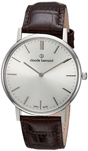 claude bernard Mens Analog Swiss-Quartz Watch with -Leather Strap 20214 3 AIN