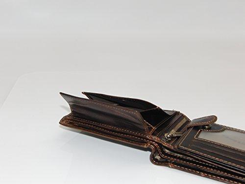 Herren Geldbörse Geldbeutel Portemonnaie Leder WILD, Farbe:Braun - 5